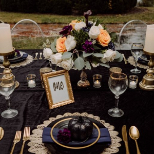 Black themed tablescapes