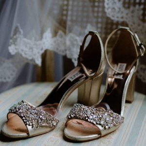 Crystal studded bridal shoes