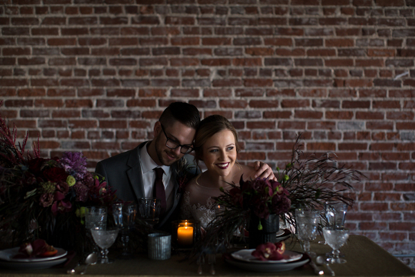 Moody gray and red wedding inspiration