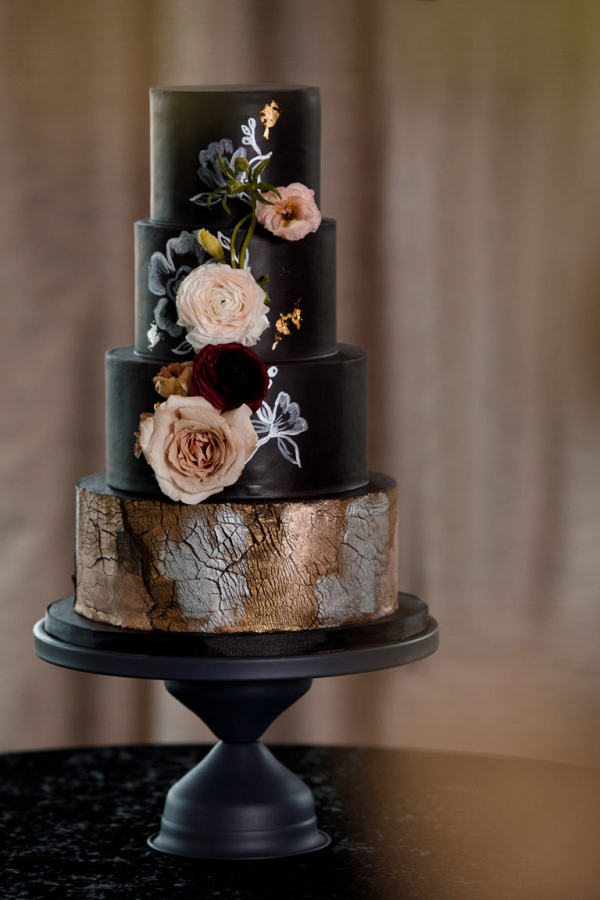 Black 4 tier wedding cake