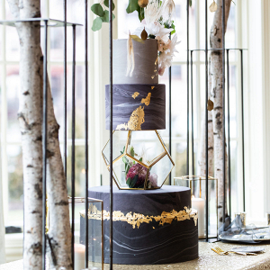 3 tier black wedding cake