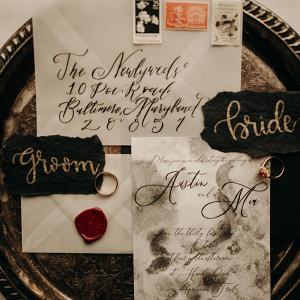 Wedding invations with wax sealed envelopes