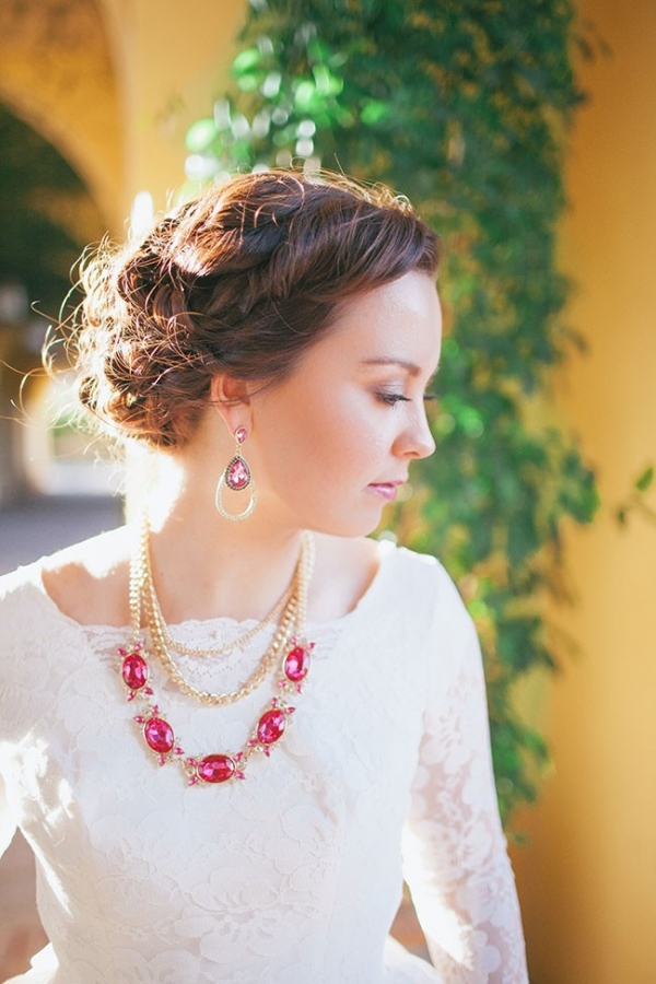 Dreamy Bridal Style Featuring Pink Sapphire Jewelry April Maura Photography