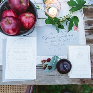 Calligraphy Wedding Invitation Suite Upscale Orchard Wedding DiBlasio Photography
