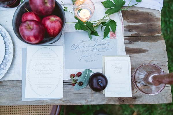 Calligraphy Wedding Invitation Suite Upscale Orchard Wedding DiBlasio Photography