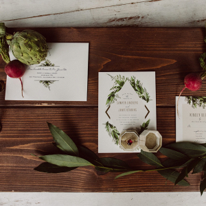 White wedding invitations with turnips