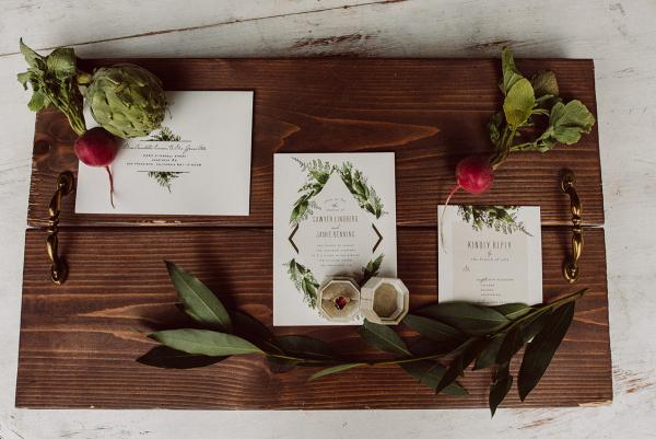 White wedding invitations with turnips