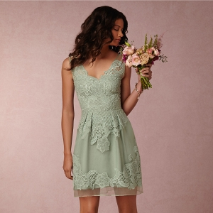 BHLDN Celestina Bridesmaid Dress Front View in Sage