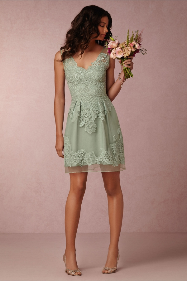 BHLDN Celestina Bridesmaid Dress Front View in Sage
