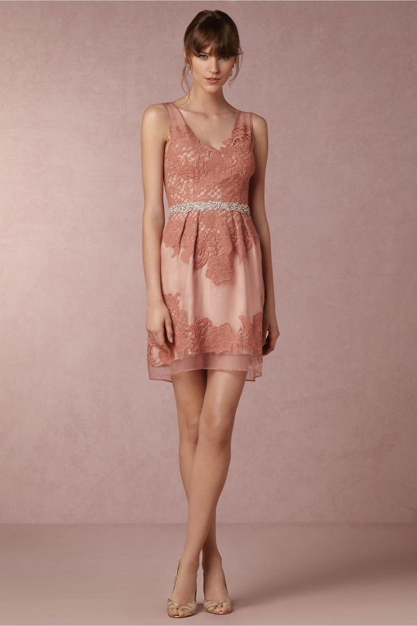BHLDN Celestina Bridesmaid Dress Front View in Vintage Rose