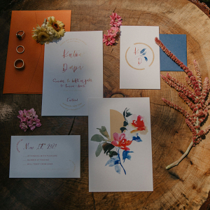 Handwritten colorful wedding invitations