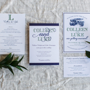White and blue wedding invitation