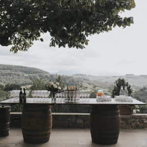 Drinks on wine barrels