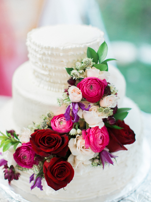 Floral Accented Wedding Cake Texas Hill Country Wedding Anne Brookshire Photography
