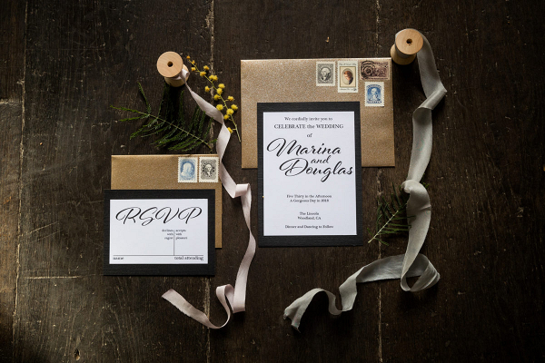 Wedding invitation with ribbons