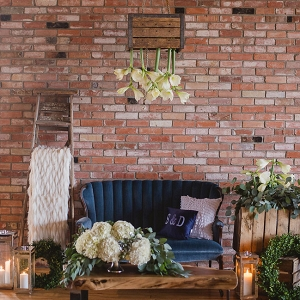 Cozy Chic Vintage Decor Lounge Featuring Suspended Flowers Wendy Alana Photography