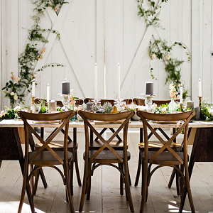 Farm Wood Reception Table Setting Industrial Prima Ballerina Wedding Photo La Vie