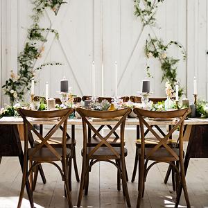 Farm Wood Reception Table Setting Industrial Prima Ballerina Wedding Photo La Vie