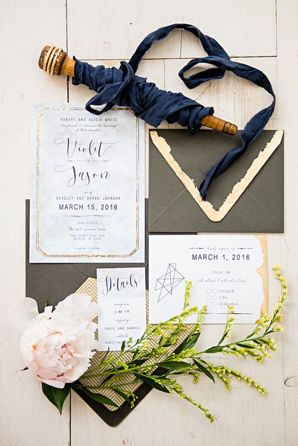 Modern Gold Brushed Wedding Invitation Suite With Geometric Infusion Prima Ballerina Wedding Photo La Vie