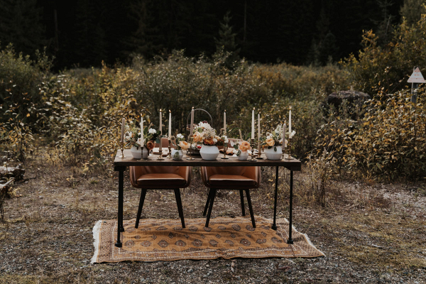 Tablescape on a rug