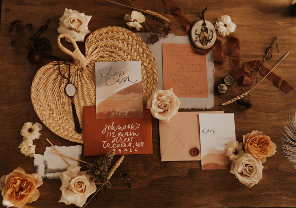 Wedding invites and roses