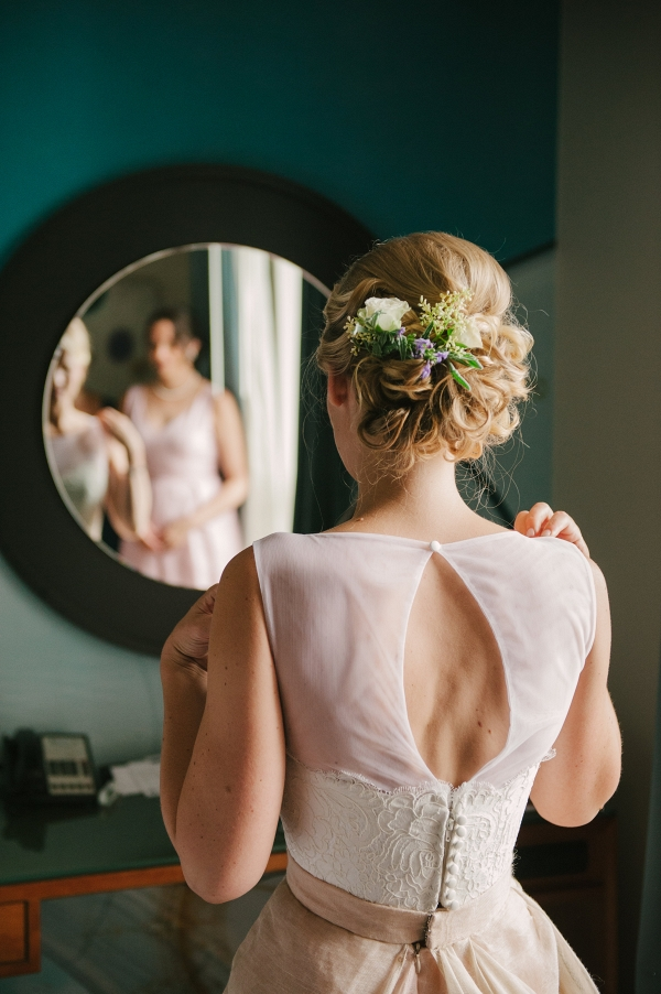 Swept Up Wedding Hair Accented by Fresh Flowers Eileen Meny Photography