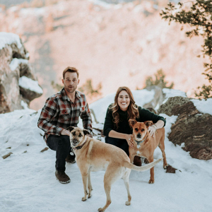 Snowy Engagement Session WIth Dogs