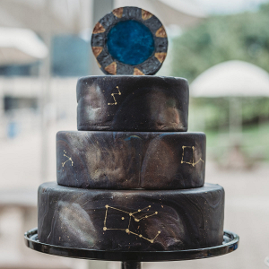3 tier black wedding cake