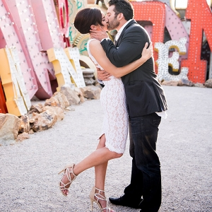 Engagement Fashion Las Vegas Neon Museum KMH Photography