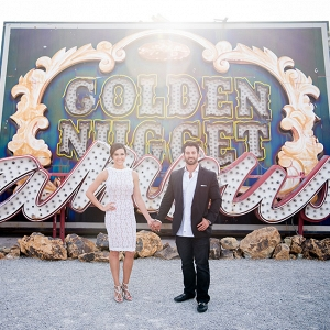 Retro Glam Engagement Style At Las Vegas Neon Museum KMH Photography