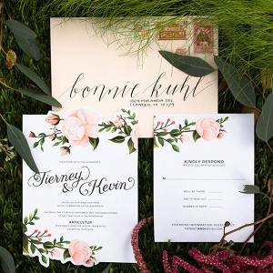 Floral Wedding Invitations With Real Flower Detailing Twin Lens Weddings