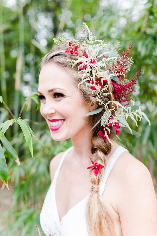 Braided Side Updo Bridal Hair Style With Real Flower Accents Twin Lens Weddings