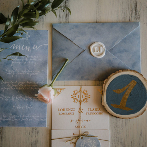 Wedding invitations with wax sealed envelopes