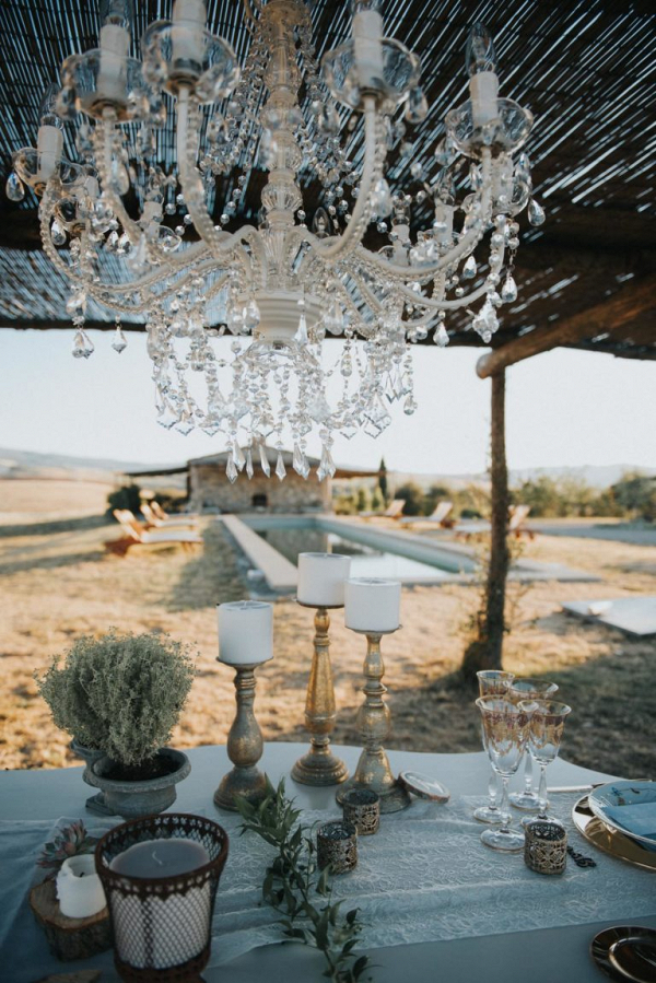 Candles and chandelier