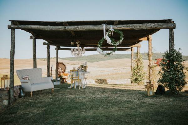 Outdoor seating Italian landscape backdrop