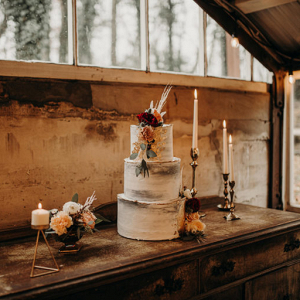 3 tier white bohemian wedding cake