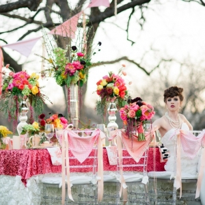Pink Sequin Linen Driven Tablescape In A Bold Spring Color Palette Vanjad Photography