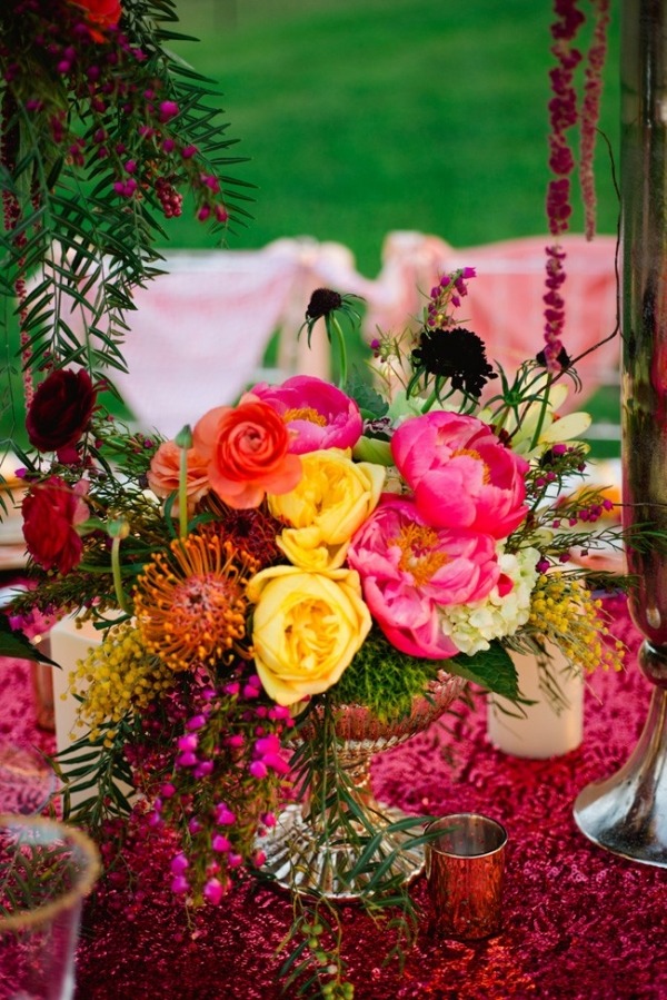 Bold Spring Color Palette In Low Centerpiece Glamourous Wedding Vanjad Photography