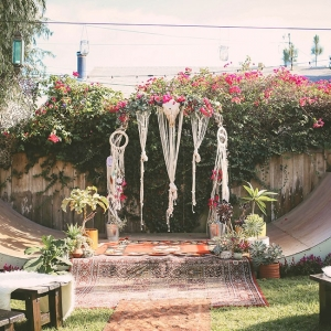 Macrame Draped Ceremony Setup Skate Ramp Socal Backyard Wedding