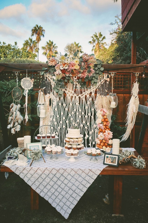 Bohemian Backyard Wedding Dessert Table Macrame Backdrop Dreamcatchers Air Plants