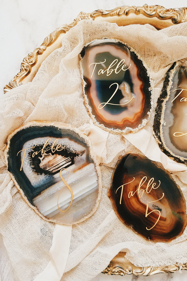 Agate Slice Wedding Table Numbers