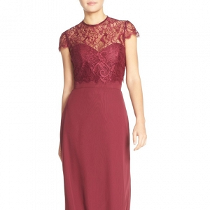 A-line chiffon bridesmaid dress in burgundy