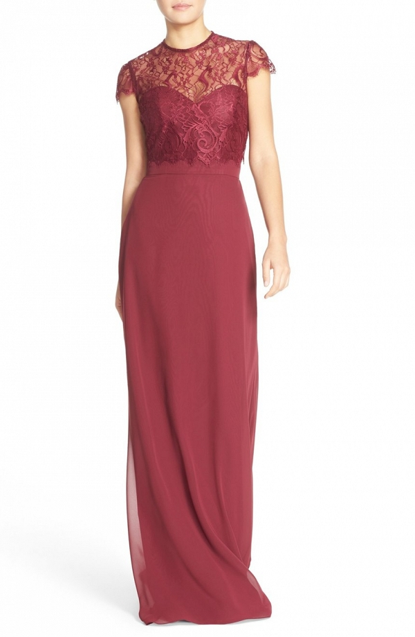 A-line chiffon bridesmaid dress in burgundy
