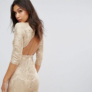Gold Open-Back Bridesmaid Dress