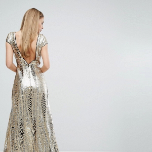 Allover Sequin Maxi Dress Back