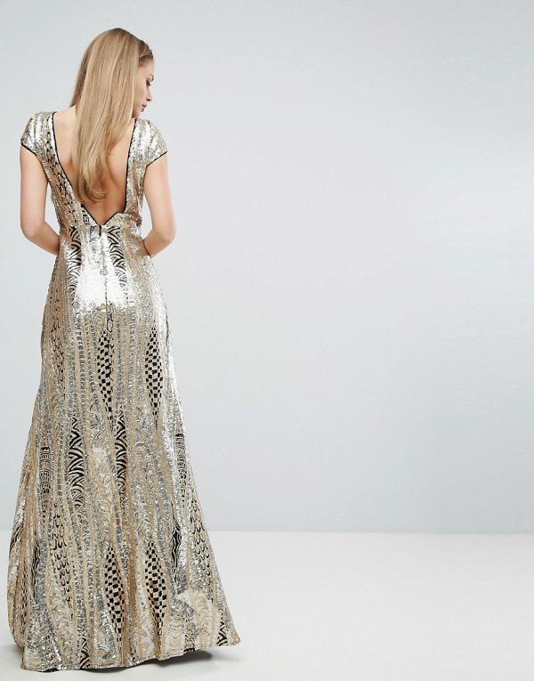 Allover Sequin Maxi Dress Back