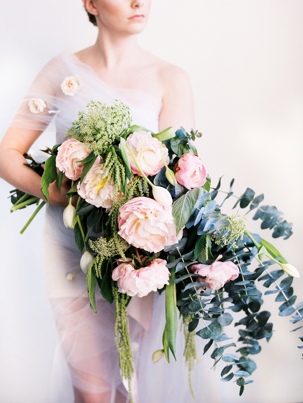 Oversized bouquet of peonies, French tulips, eucalyptus, trailing amaranthus, and Queen Anne's lace