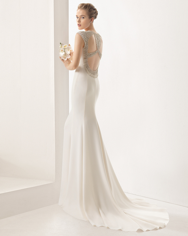 Beaded back crepe column dress