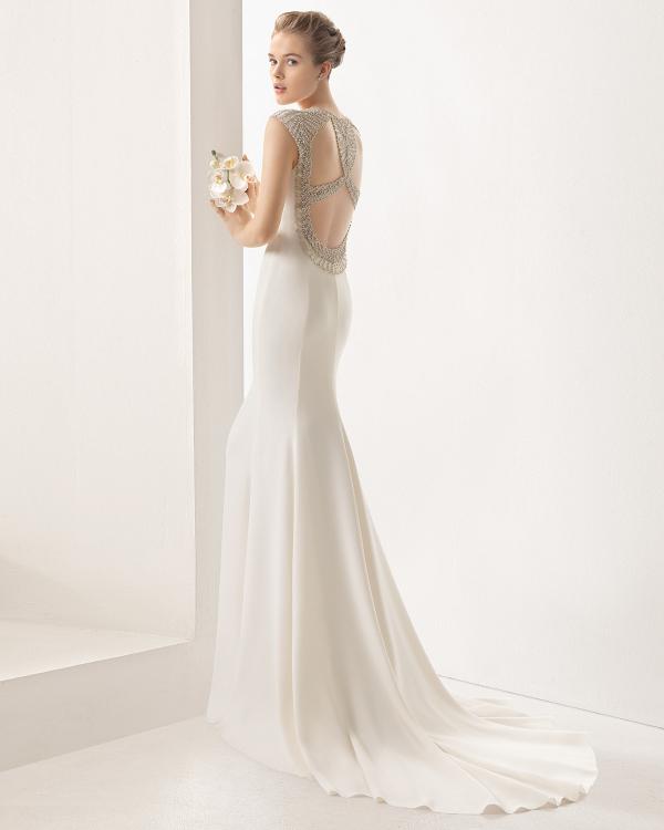 Beaded back crepe column dress