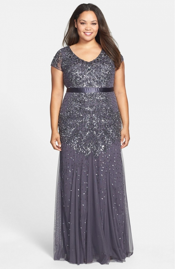 Beaded V-neck gown in gunmetal
